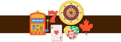 canadian leaf, slots, lucky 7, dice, cards and casino chips